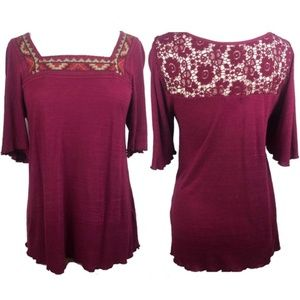 Lucky Brand Boho Wine Embroidered Lace Tunic M